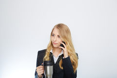 Beautiful caucasian businesswoman talking on phone Royalty Free Stock Image