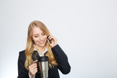 Beautiful caucasian businesswoman talking on phone Stock Images