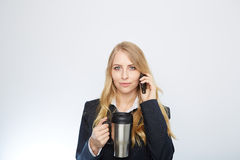 Beautiful caucasian businesswoman talking on phone Stock Image