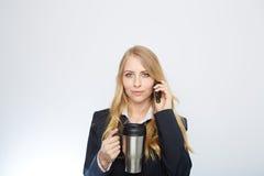 Beautiful caucasian businesswoman talking on phone Stock Image
