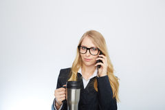 Beautiful caucasian businesswoman talking on phone Stock Photography