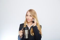 Beautiful caucasian businesswoman talking on phone Stock Photos