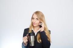 Beautiful caucasian businesswoman talking on phone Stock Photos