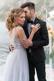 Beautiful caucasian couple just married Royalty Free Stock Image