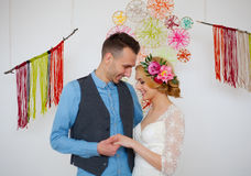 Beautiful caucasian couple just married Stock Photos