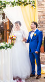 Beautiful caucasian couple just married. Wedding ceremony Stock Photos