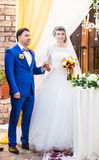 Beautiful caucasian couple just married. Wedding ceremony Royalty Free Stock Photos