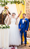 Beautiful caucasian couple just married. Wedding ceremony Royalty Free Stock Images