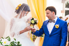 Beautiful caucasian couple just married. Wedding ceremony Royalty Free Stock Image