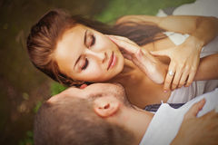 Beautiful caucasian couple kissing royalty free stock photos