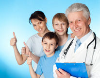 Beautiful Caucasian elderly doctor with a patient Royalty Free Stock Image