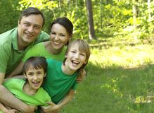 Beautiful Caucasian family of four Stock Image