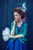 Beautiful caucasian girl dressed in rococo style Stock Photography