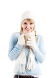 Beautiful caucasian girl drinking coffee Stock Images