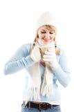 Beautiful caucasian girl drinking coffee Royalty Free Stock Image