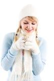 Beautiful caucasian girl drinking coffee Stock Image