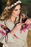 Beautiful Caucasian Girl on Farm Royalty Free Stock Photography