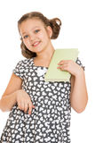 Beautiful caucasian girl holding a book in his Royalty Free Stock Image