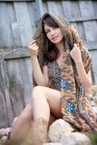 Beautiful caucasian girl with shawl Stock Photo