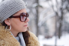 Beautiful caucasian girl in the winter landscape. Beautiful white girl in the winter landscape Stock Images