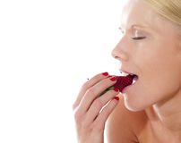 Beautiful caucasian lady tasting yummy strawberry Stock Photo