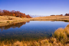 Beautiful Caucasian mountains and lake in autumn season Stock Image