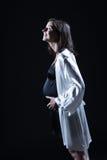 Beautiful caucasian pregnant  woman in nightie Royalty Free Stock Image