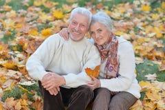 Beautiful caucasian senior couple   in the park Stock Photography
