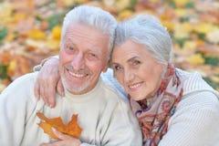 Beautiful caucasian senior couple   in the park Stock Photo