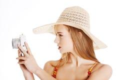 Beautiful caucasian summer woman taking photo. Stock Images