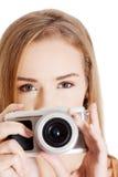 Beautiful caucasian summer woman taking photo. Royalty Free Stock Photo