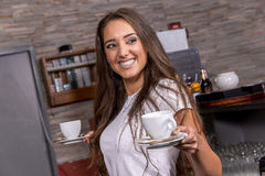 Beautiful caucasian waitress Stock Photography