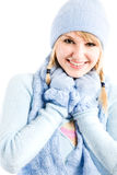 Beautiful caucasian winter clothing Royalty Free Stock Image