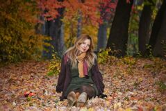 Beautiful caucasian woman, autumn season