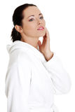 Beautiful caucasian woman in bathrobe Royalty Free Stock Images
