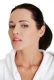Beautiful caucasian woman in bathrobe Stock Images