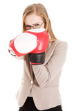 Beautiful caucasian woman with boxing gloves. Royalty Free Stock Photos