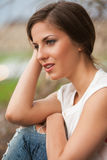 Beautiful caucasian woman in casual outdoors Stock Photo