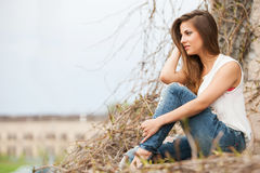 Beautiful caucasian woman in casual outdoors Stock Image