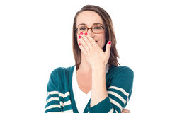 Beautiful caucasian woman chuckle. Happy woman laughing covering her mouth with hand Stock Photos