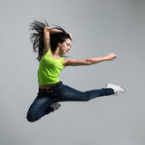 Beautiful caucasian woman dancer jumping Stock Images