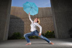 Beautiful Caucasian Woman Dancing Stock Photos