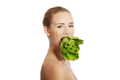 Beautiful caucasian woman with fresh green lettuce in mouth. Royalty Free Stock Image