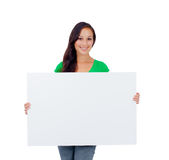 Beautiful caucasian woman holding a blank sign Royalty Free Stock Photography