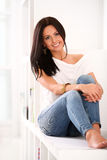 Beautiful caucasian woman at home Royalty Free Stock Images