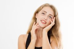 Beautiful caucasian woman isolated on white background. Anti aging and wrinkles concept. Skin care and female face. Copy space.  stock photography