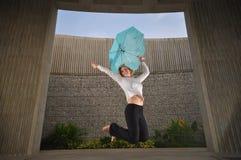 Beautiful Caucasian Woman Jumping Stock Photos