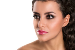 Beautiful caucasian woman with makeup, pink lips,  looking, isol Stock Image
