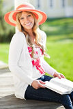 Beautiful Caucasian woman outdoor Stock Images