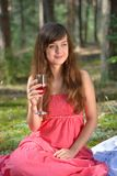 Beautiful caucasian woman at picnic in forest Stock Photography